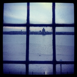My view: framing the Mersey from the TATE Liverpool.